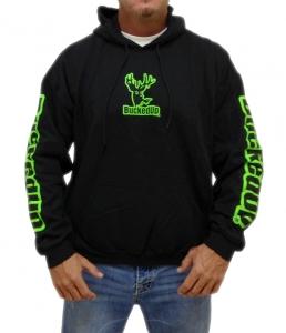 BuckedUp Pullover Hoodie - Black with Neon Green Logo