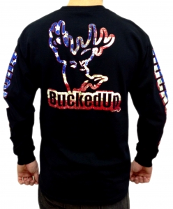 BuckedUp Longsleeve - Black with American Logo
